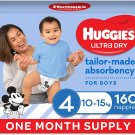 AU Huggies Ultra Dry Nappies Boy Size 4 (10-15kg)1 Month Supply 160 Count