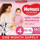 AU Huggies Ultra Dry Nappies Girl Size 4 (10-15kg) 1 Month Supply 160 Count