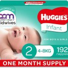 AU Huggies Infant Nappies Size 2 (4-8kg) 1 Month Supply 192 Count