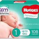 AU Huggies Newborn Nappies Size 1 (Up To 5kg) 108 Count