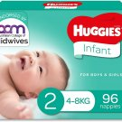AU Huggies Infant Nappies Size 2 (4-8kg) 96 Count