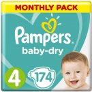 AU Pampers Baby-Dry Nappies Size 4 Toddler, 174 Nappies, 9-14kg, Monthly Pack