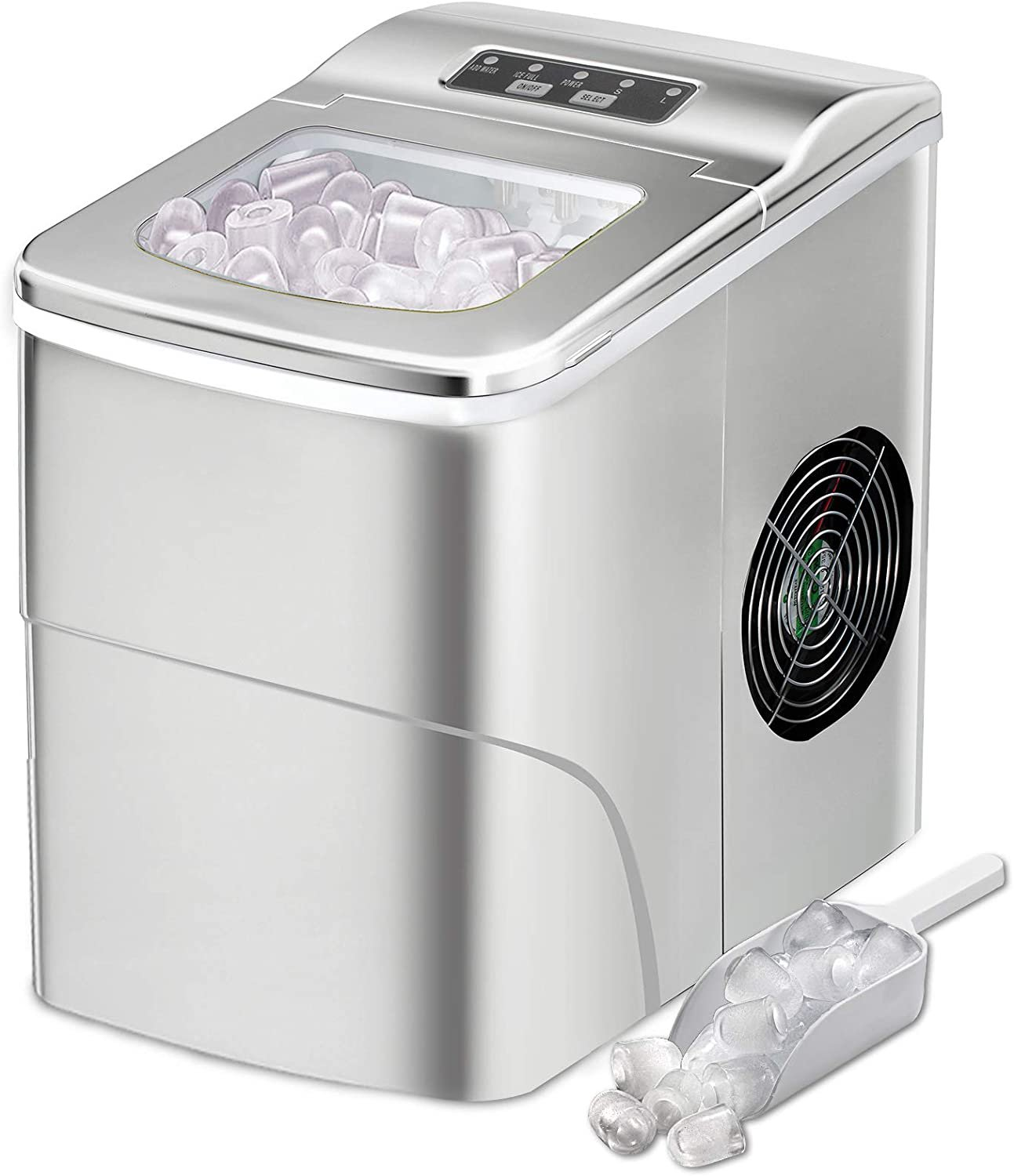 AGLUCKY Counter top Ice Maker Machine,Compact Automatic Ice Maker (Silver)