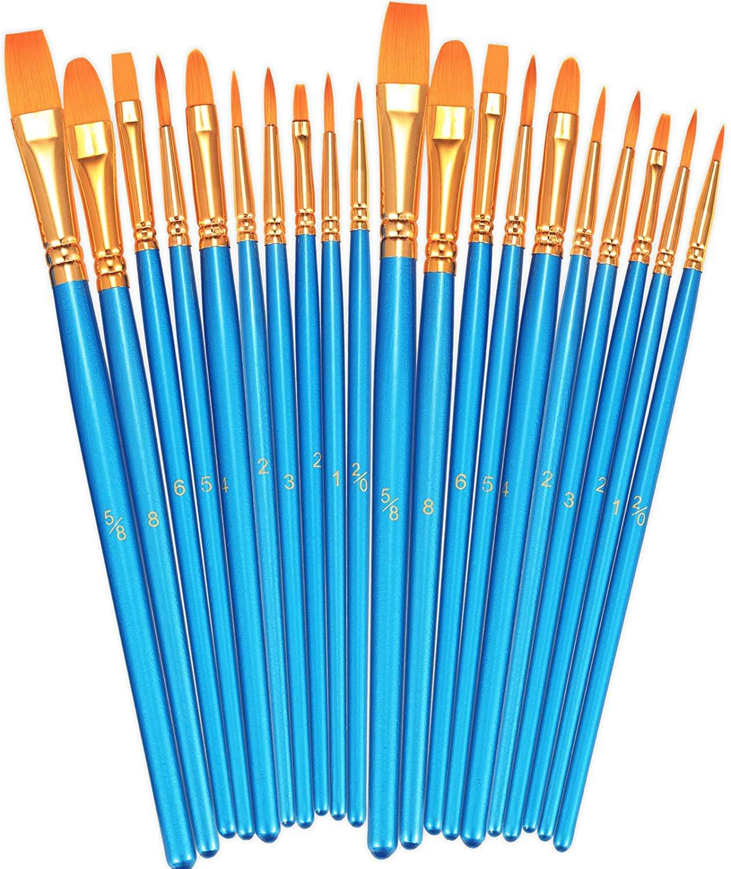 BOSOBO Paint Brushes Set, 2 Pack 20 Pcs