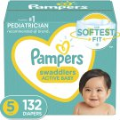 Diapers Size 5, 132 Count - Pampers Swaddlers Disposable Baby Diapers
