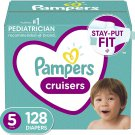 Diapers Size 5, 128 Count - Pampers Cruisers Disposable Baby Diapers