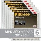 Filtrete 20x20x1, AC Furnace Air Filter, MPR 300, Clean Living Basic Dust