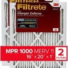 Filtrete 16x20x1, AC Furnace Air Filter, MPR 1000, Micro Allergen Defense, 2-Pack