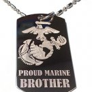 Military Dog Tag Metal Chain Necklace - Proud Marine Corps Brother USMC Logo