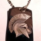 Military Dog Tag Metal Chain Necklace - Ancient Greece Warrior Spartan Helmet