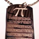 Mathematics Pi Pie 3.14159 Math Symbol - Dog Tag w/ Metal Chain Necklace