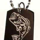 Big Mouth Fresh Water Lake Bass Flying Fish - Dog Tag w/ Metal Chain Necklace