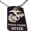 United States USMC Marines Proud  Sister - Dog Tag w/ Metal Chain Necklace