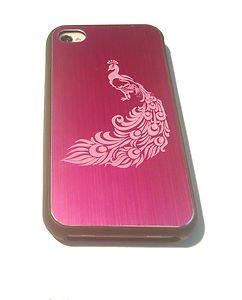 Peacock Bird Tattoo Engraved Logo - FITS iPhone 4 / 4s Aluminum Pink Case