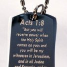 Jesus Christ Christian Bible Acts 1:8 Verse - Dog Tag w/ Metal Chain Necklace