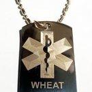 Medical Emergency Wheat Allergy Logo  - Dog Tag w/ Metal Chain Necklace