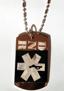 Medical Emergency DNR Do Not Resuscitate Logo - Dog Tag w/ Metal Chain Necklace