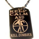 Military Dog Tag Metal Chain Necklace - Keep Calm and Kill Zombies Target Logo