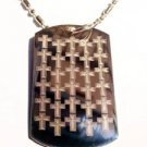 Jesus Christ Classic Cross Repeating Design - Dog Tag w/ Metal Chain Necklace