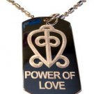 International Symbol for Power of Love Logo - Dog Tag w/ Metal Chain Necklace