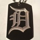 OLD English Font Initial Alphabet Letter D - Dog Tag w/ Metal Chain Necklace