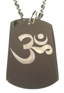 Hindu Om Sound of Universe Religious Symbol - Dog Tag w/ Metal Chain Necklace