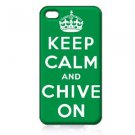 KEEP CALM AND CHIVE ON WHITE SNAP ON FITS iPhone 4 4s PLASTIC Case