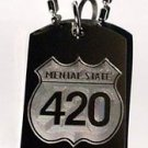 Mental State 4:20 Marijuana Weed Road Sign - Dog Tag w/ Metal Chain Necklace