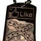 Like Button Rebel Dixie Confederate Flag - Dog Tag w/ Metal Chain Necklace