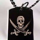 Skull Jolly Roger Cross Pirate Swords - Dog Tag w/ Metal Chain Necklace
