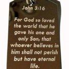 John 3:16 Christian Jesus Bible Biblical Verse - Dog Tag w/ Metal Chain Necklace