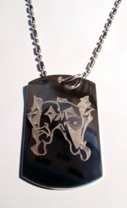 Happy Sad Theater Theatrical Face Masks - Dog Tag w/ Metal Chain Necklace