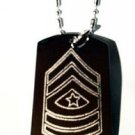 Army Military Officer Rank Sargeant Major - Dog Tag w/ Metal Chain Necklace