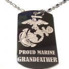 Military Dog Tag Metal Chain Necklace - Proud Marine Corps Grandfather USMC