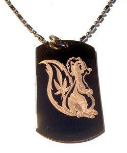 Military Dog Tag Metal Chain Necklace - Skunk Weed Smoke Marijuana Pot Leaf