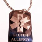 Military Dog Tag Metal Chain Necklace - Medical Emergency Gluten Allergy Logo