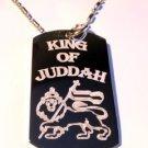 Military Dog Tag Metal Chain Necklace - Rasta King of Juddah Lion Crest Logo