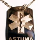 Military Dog Tag Metal Chain Necklace - Medical Emergency Asthma Allergy Logo