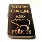 Vector Custom Engraved Butane Lighter - Keep Calm and Pork on Pig Bacon Novelty