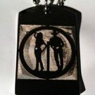Southern Cowboy & Cowgirl Standing Silhouette - Dog Tag w/ Metal Chain Necklace