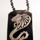 King Cobra Venom Tribal Snake Serpent Tattoo - Dog Tag w/ Metal Chain Necklace