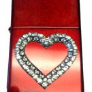 Vector Custom Crystal Emblem Butane Lighter - Heart Vintage Red