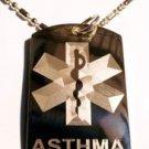 Asthma Medical Emergency Allergy Symbol Logo - Dog Tag w/ Metal Chain Necklace