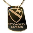 US Armed Forces 1st Cavalry Horse Shield - Dog Tag w/ Metal Chain Necklace