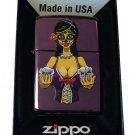 Zippo Custom Lighter - Sexy Day of the Dead Muertos Babe w/ Skulls Abyss Purple