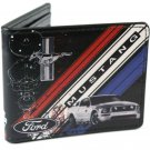 Ford Mustang Horse Logo w/ Car & Red, White, & Blue Stripes Auto Bi-Fold Wallet