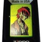 Zippo Custom Lighter - Out For Blood Japanese Anime Tattoo Guy Lurid Green Matte