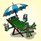 Chillin Froggy Funny Tree Frog Sitting w/ Phone & Drink Relaxing - Vinyl Sticker