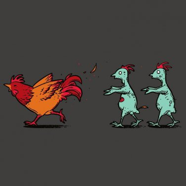 """Zombie Attack"" Rooster Chased by Infected Chickens Funny - Vinyl Sticker"
