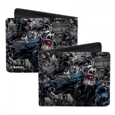 Marvel Comics Bi-Fold Wallet - Venom Super Hero Action Pose in City